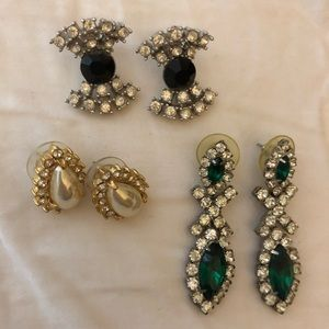 Collection of 3 pairs of vintage costume earrings